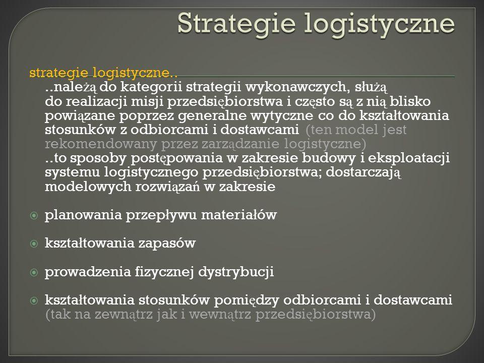 strategie logistyczne....nale żą do kategorii strategii wykonawczych, s ł u żą do realizacji misji przedsi ę biorstwa i cz ę sto s ą z ni ą blisko pow