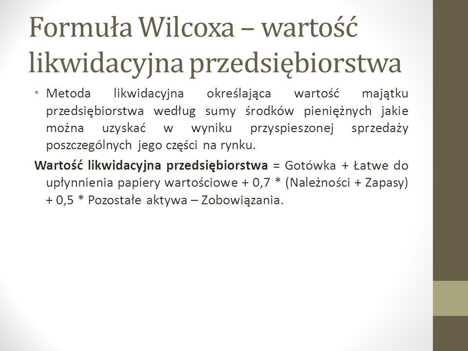 Formuła Wilcoxa – wartość likwidacyjna przedsiębiorstwa Metoda likwidacyjna określająca wartość majątku przedsiębiorstwa według sumy środków pieniężny