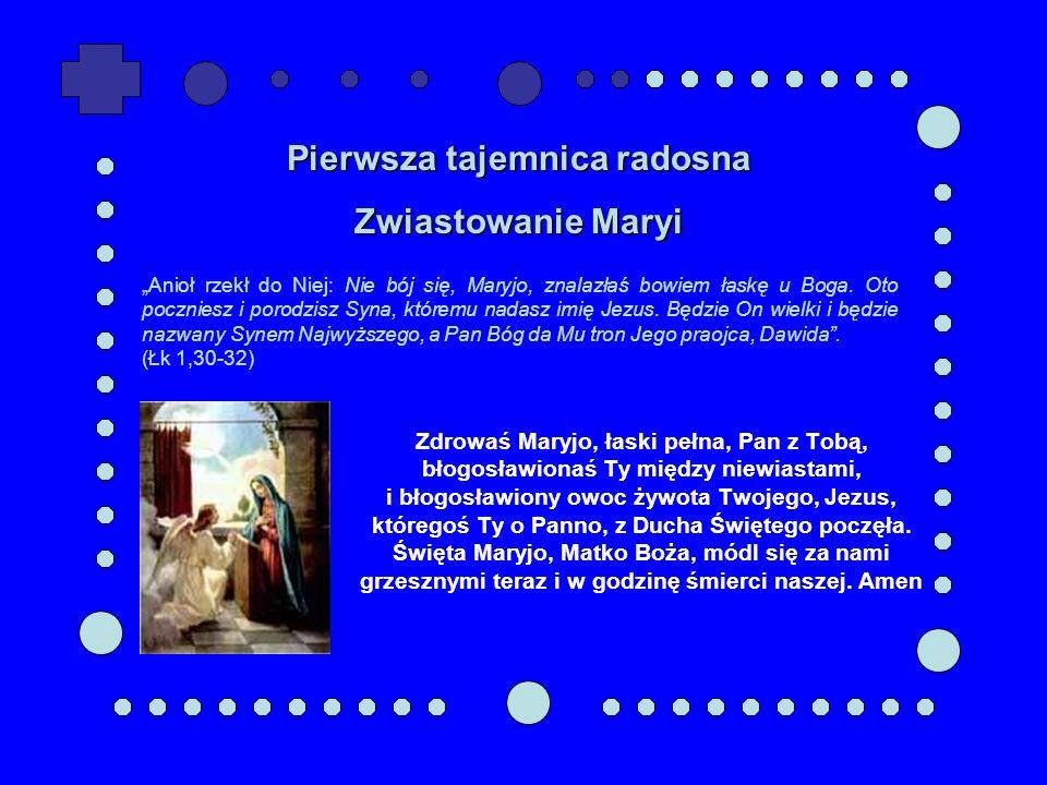 Zdrowaś Maryjo, łaski pełna, Pan z Tobą, błogosławionaś Ty między niewiastami, i błogosławiony owoc żywota Twojego, Jezus, któregoś Ty o Panno, z Duch