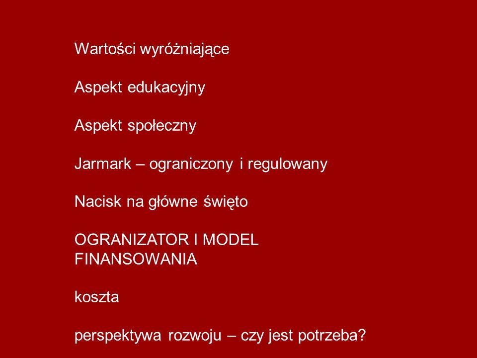 Wartości wyróżniające Aspekt edukacyjny Aspekt społeczny Jarmark – ograniczony i regulowany Nacisk na główne święto OGRANIZATOR I MODEL FINANSOWANIA k