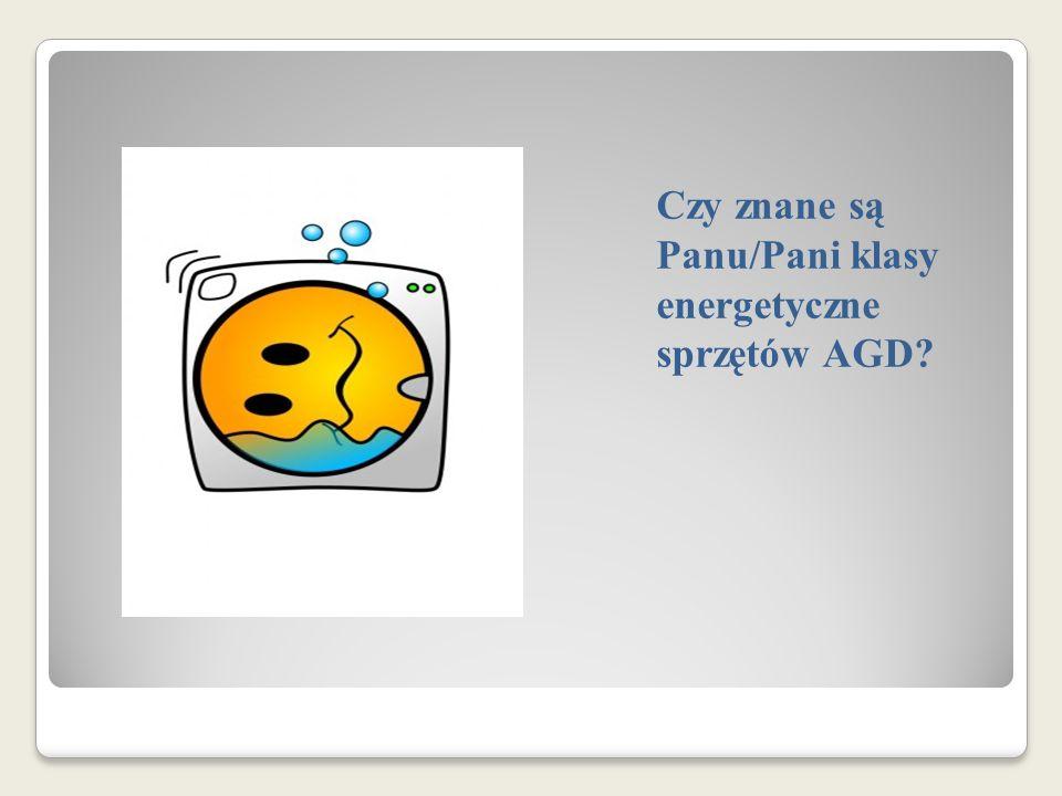 Czy znane są Panu/Pani klasy energetyczne sprzętów AGD?