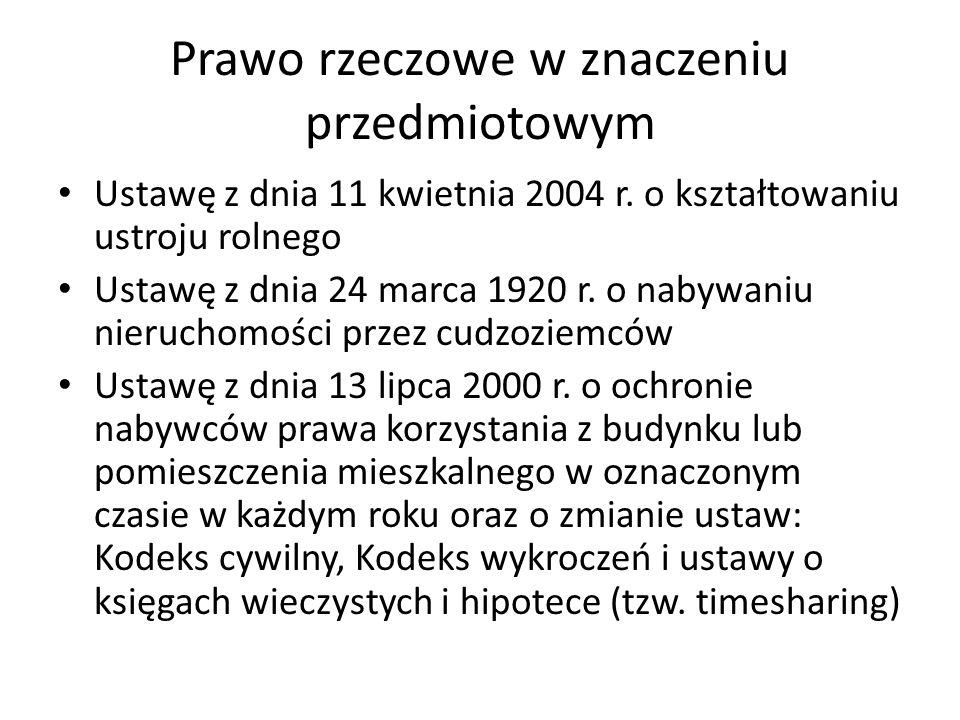 Prawo rzeczowe w znaczeniu przedmiotowym Ustawę z dnia 11 kwietnia 2004 r. o kształtowaniu ustroju rolnego Ustawę z dnia 24 marca 1920 r. o nabywaniu