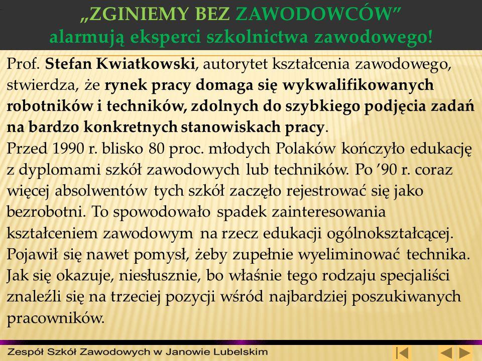 ZGINIEMY BEZ ZAWODOWCÓW alarmują eksperci szkolnictwa zawodowego! Prof. Stefan Kwiatkowski, autorytet kształcenia zawodowego, stwierdza, że rynek prac