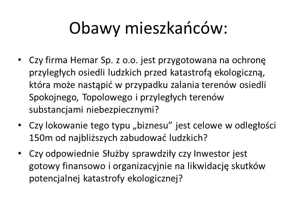 Obawy mieszkańców: Czy firma Hemar Sp.z o.o.