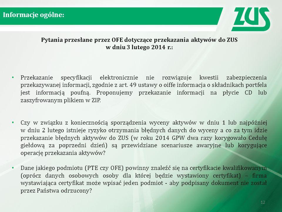 Pytania przesłane przez OFE dotyczące przekazania aktywów do ZUS w dniu 3 lutego 2014 r.: Przekazanie specyfikacji elektronicznie nie rozwiązuje kwestii zabezpieczenia przekazywanej informacji, zgodnie z art.