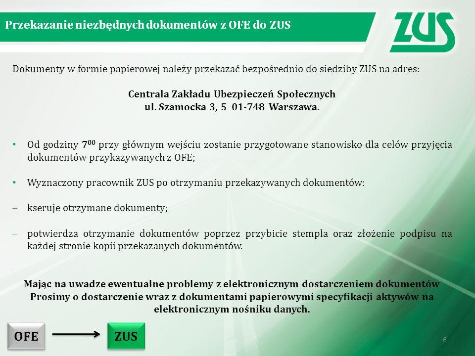 Dokumenty w formie papierowej należy przekazać bezpośrednio do siedziby ZUS na adres: Centrala Zakładu Ubezpieczeń Społecznych ul.