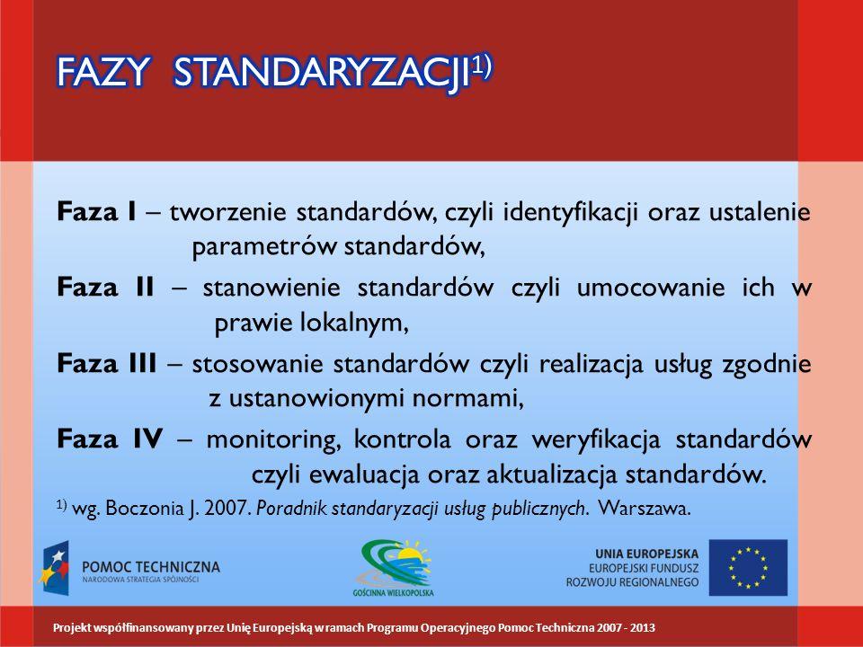 Faza I – tworzenie standardów, czyli identyfikacji oraz ustalenie parametrów standardów, Faza II – stanowienie standardów czyli umocowanie ich w prawie lokalnym, Faza III – stosowanie standardów czyli realizacja usług zgodnie z ustanowionymi normami, Faza IV – monitoring, kontrola oraz weryfikacja standardów czyli ewaluacja oraz aktualizacja standardów.
