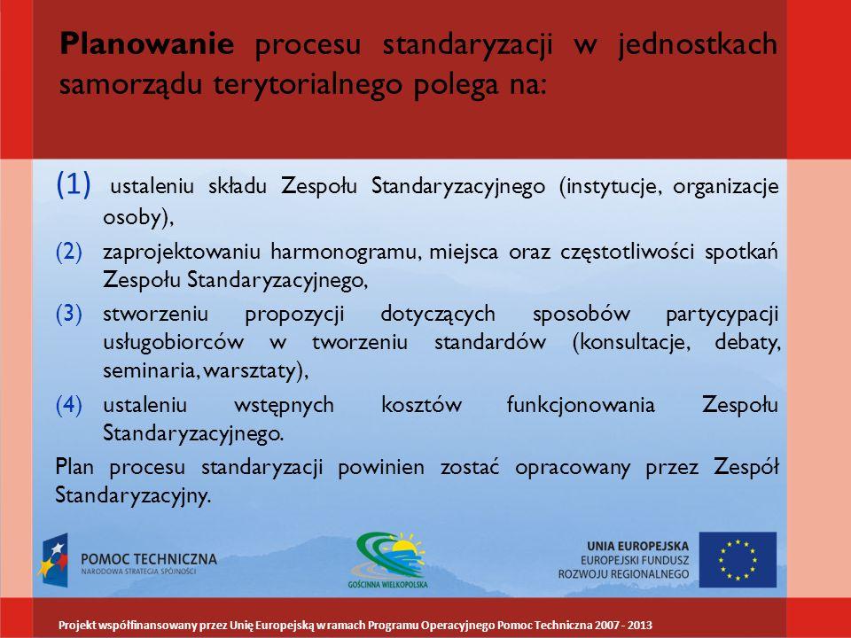 Planowanie procesu standaryzacji w jednostkach samorządu terytorialnego polega na: (1) ustaleniu składu Zespołu Standaryzacyjnego (instytucje, organiz