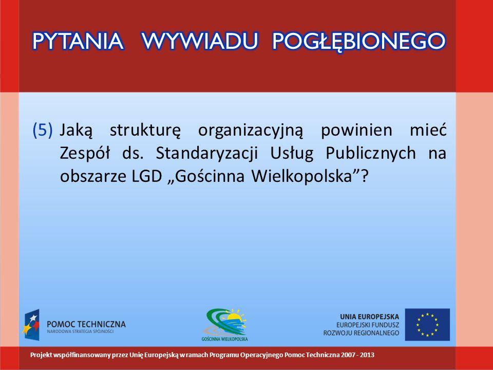 (5)Jaką strukturę organizacyjną powinien mieć Zespół ds. Standaryzacji Usług Publicznych na obszarze LGD Gościnna Wielkopolska? Projekt współfinansowa