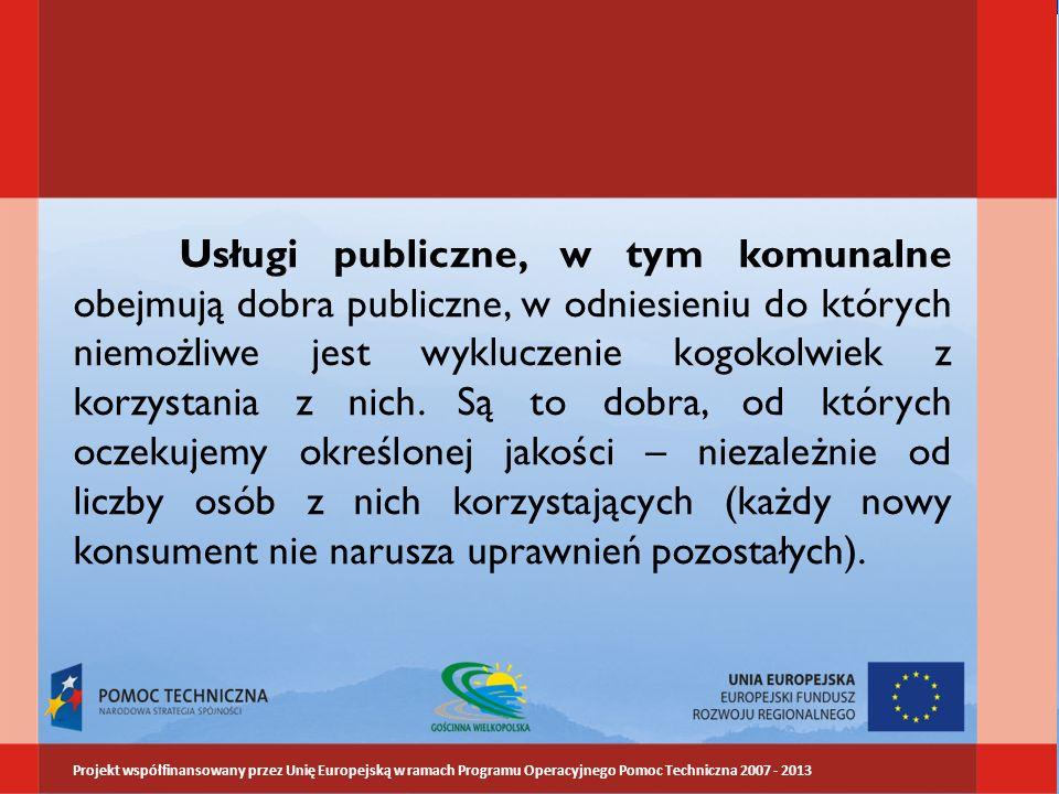 Usługi publiczne, w tym komunalne obejmują dobra publiczne, w odniesieniu do których niemożliwe jest wykluczenie kogokolwiek z korzystania z nich. Są