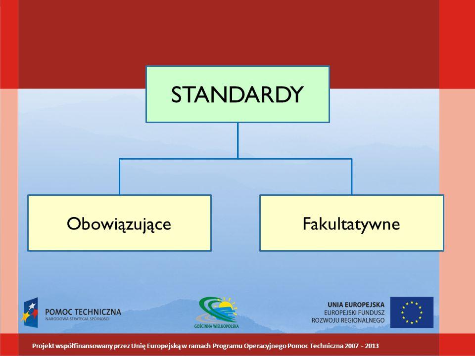 STANDARDY ObowiązująceFakultatywne Projekt współfinansowany przez Unię Europejską w ramach Programu Operacyjnego Pomoc Techniczna 2007 - 2013