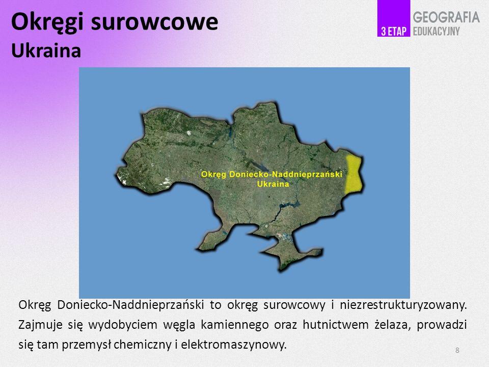 Okręgi surowcowe Ukraina 8 Okręg Doniecko-Naddnieprzański to okręg surowcowy i niezrestrukturyzowany.