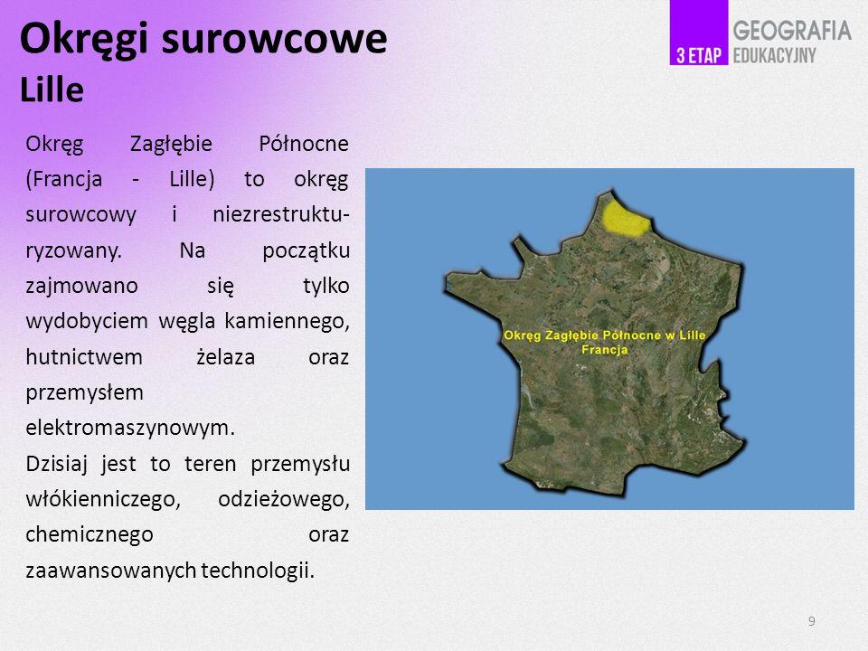 Okręgi surowcowe Lille 9 Okręg Zagłębie Północne (Francja - Lille) to okręg surowcowy i niezrestruktu- ryzowany.
