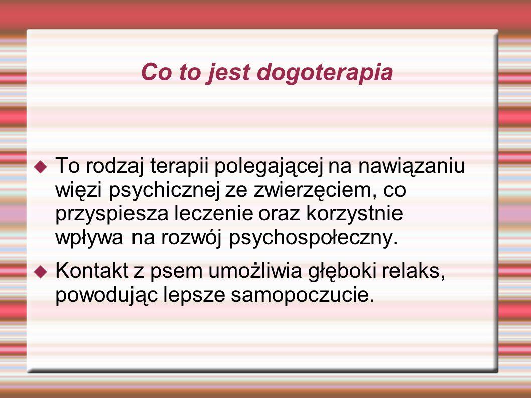 Co to jest dogoterapia To rodzaj terapii polegającej na nawiązaniu więzi psychicznej ze zwierzęciem, co przyspiesza leczenie oraz korzystnie wpływa na rozwój psychospołeczny.