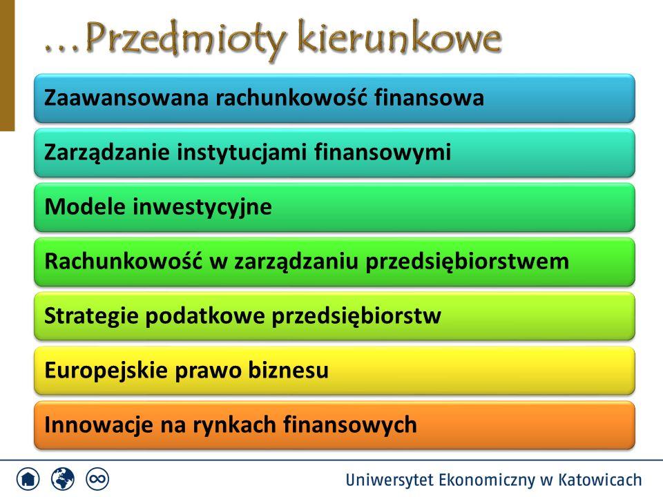 Zaawansowana rachunkowość finansowaZarządzanie instytucjami finansowymiModele inwestycyjneRachunkowość w zarządzaniu przedsiębiorstwemStrategie podatk