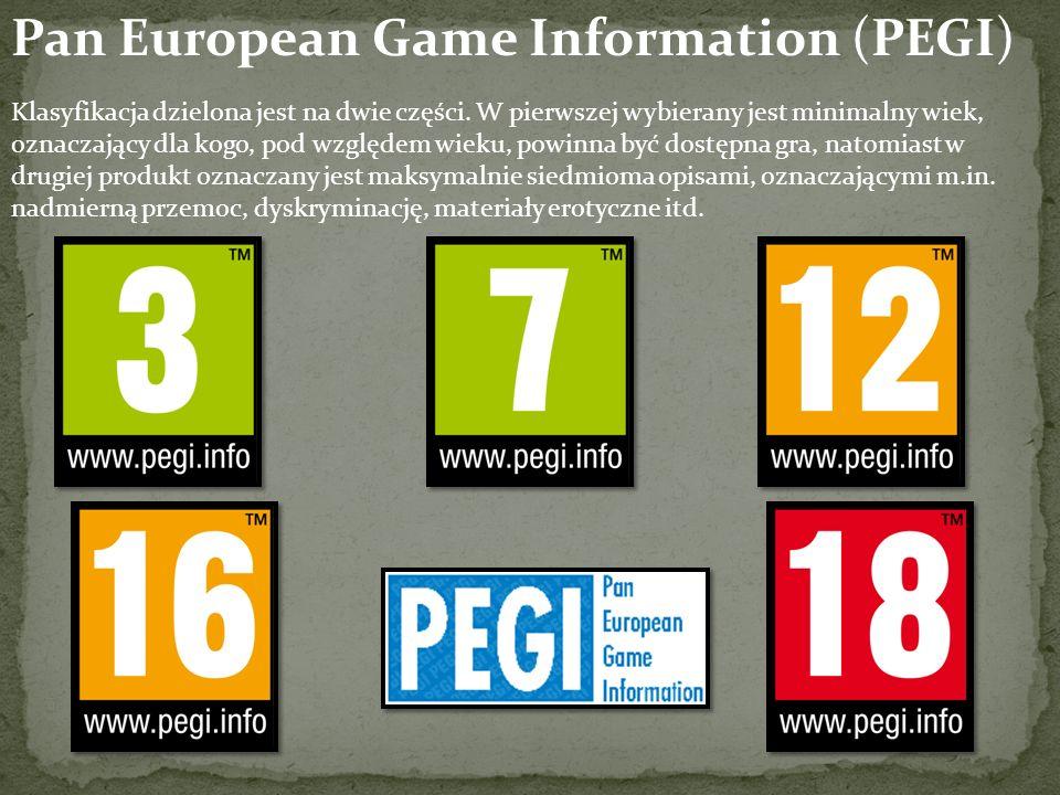 Pan European Game Information (PEGI) Klasyfikacja dzielona jest na dwie części.
