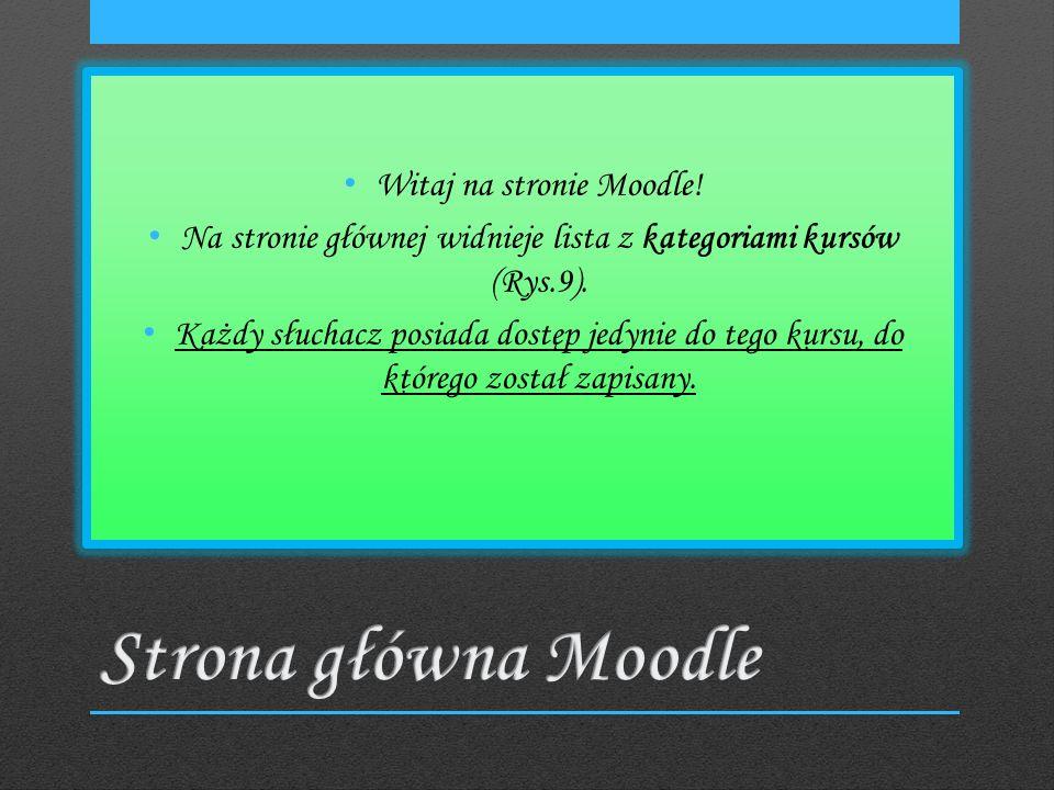 Witaj na stronie Moodle. Na stronie głównej widnieje lista z kategoriami kursów (Rys.9).