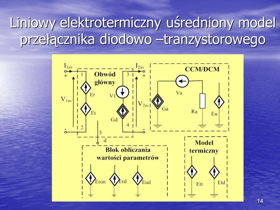 14 Liniowy elektrotermiczny uśredniony model przełącznika diodowo –tranzystorowego