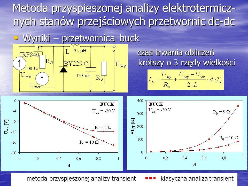 18 Metoda przyspieszonej analizy elektrotermicz- nych stanów przejściowych przetwornic dc-dc Wyniki – przetwornica buck Wyniki – przetwornica buck cza