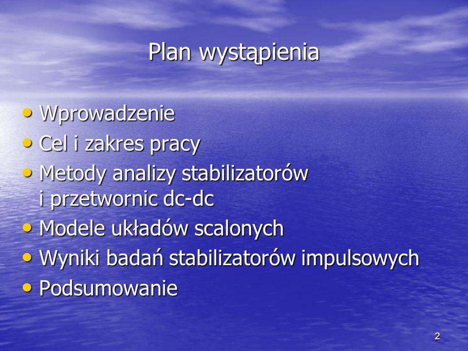 2 Plan wystąpienia Wprowadzenie Wprowadzenie Cel i zakres pracy Cel i zakres pracy Metody analizy stabilizatorów i przetwornic dc-dc Metody analizy st