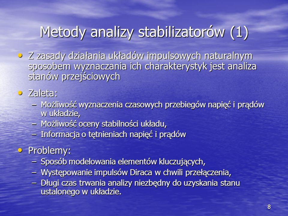 9 Metody analizy stabilizatorów (2) Metoda modeli uśrednionych wykorzystuje okresowość sygnałów w stanie ustalonym Metoda modeli uśrednionych wykorzystuje okresowość sygnałów w stanie ustalonym Zalety: Zalety: –Wyznaczenie charakterystyk przetwornic w stanie ustalonym za pomocą analizy dc, –Krótki czas trwania obliczeń, –Brak problemów ze zbieżnością.