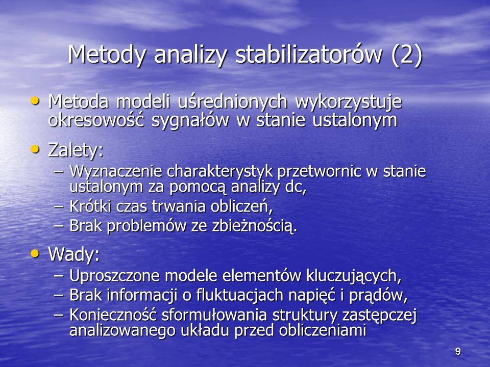 9 Metody analizy stabilizatorów (2) Metoda modeli uśrednionych wykorzystuje okresowość sygnałów w stanie ustalonym Metoda modeli uśrednionych wykorzys