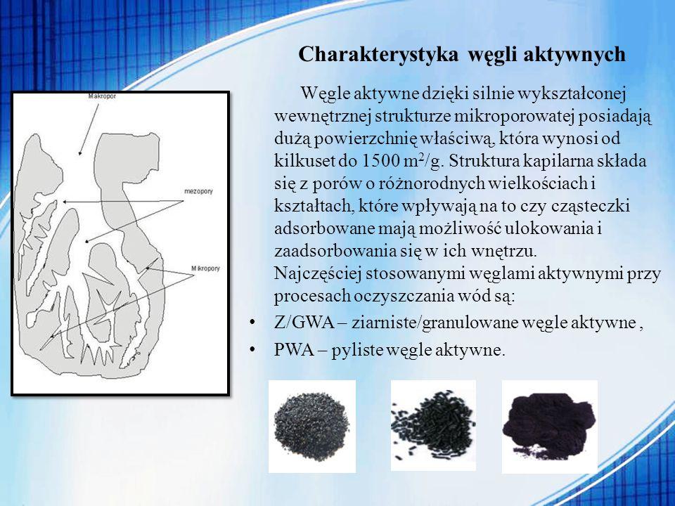 Charakterystyka węgli aktywnych Węgle aktywne dzięki silnie wykształconej wewnętrznej strukturze mikroporowatej posiadają dużą powierzchnię właściwą,