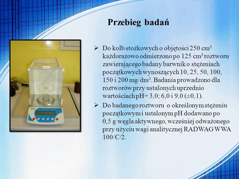 Przebieg badań Do kolb stożkowych o objętości 250 cm 3 każdorazowo odmierzono po 125 cm 3 roztworu zawierającego badany barwnik o stężeniach początkow