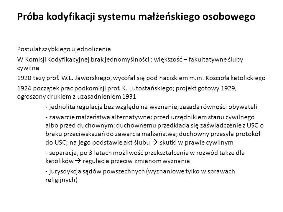 Próba kodyfikacji systemu małżeńskiego osobowego Postulat szybkiego ujednolicenia W Komisji Kodyfikacyjnej brak jednomyślności ; większość – fakultaty