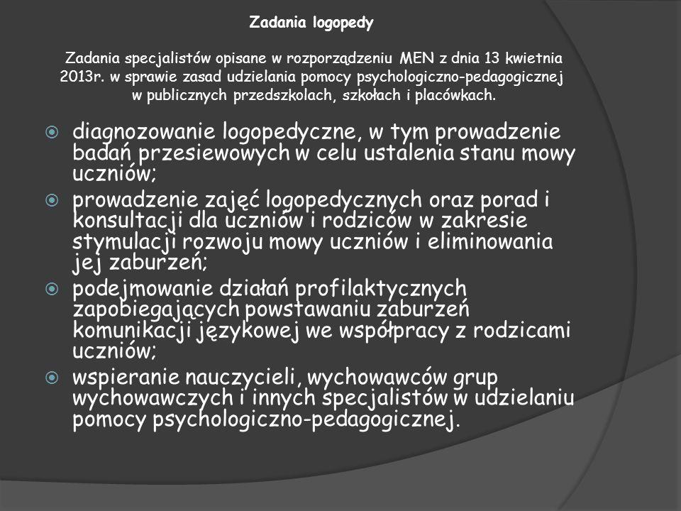 Zadania logopedy Zadania specjalistów opisane w rozporządzeniu MEN z dnia 13 kwietnia 2013r. w sprawie zasad udzielania pomocy psychologiczno-pedagogi