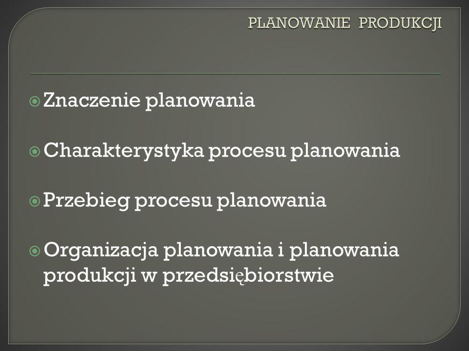 Znaczenie planowania Charakterystyka procesu planowania Przebieg procesu planowania Organizacja planowania i planowania produkcji w przedsi ę biorstwie