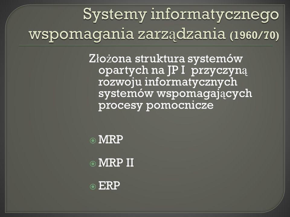 Z ł o ż ona struktura systemów opartych na JP I przyczyn ą rozwoju informatycznych systemów wspomagaj ą cych procesy pomocnicze MRP MRP II ERP
