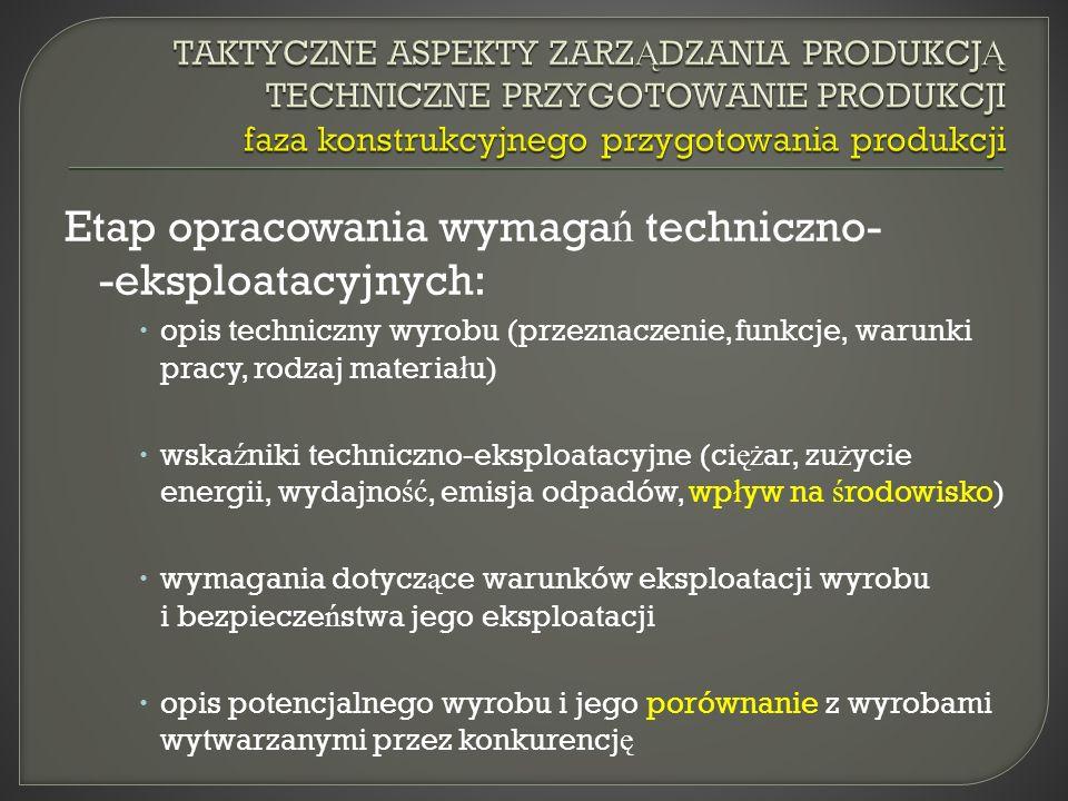 Etap opracowania wymaga ń techniczno- -eksploatacyjnych: opis techniczny wyrobu (przeznaczenie, funkcje, warunki pracy, rodzaj materia ł u) wska ź niki techniczno-eksploatacyjne (ci ęż ar, zu ż ycie energii, wydajno ść, emisja odpadów, wp ł yw na ś rodowisko) wymagania dotycz ą ce warunków eksploatacji wyrobu i bezpiecze ń stwa jego eksploatacji opis potencjalnego wyrobu i jego porównanie z wyrobami wytwarzanymi przez konkurencj ę