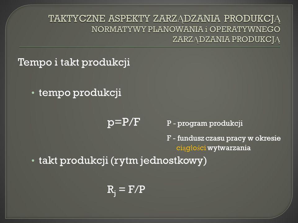 Tempo i takt produkcji tempo produkcji p=P/F P - program produkcji F - fundusz czasu pracy w okresie ci ą g ł o ś ci wytwarzania takt produkcji (rytm jednostkowy) R j = F/P