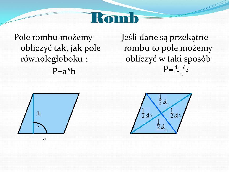 Zadanie 7 Oblicz pole równoległoboku, którego wymiary to a=6cm, h=7cm.
