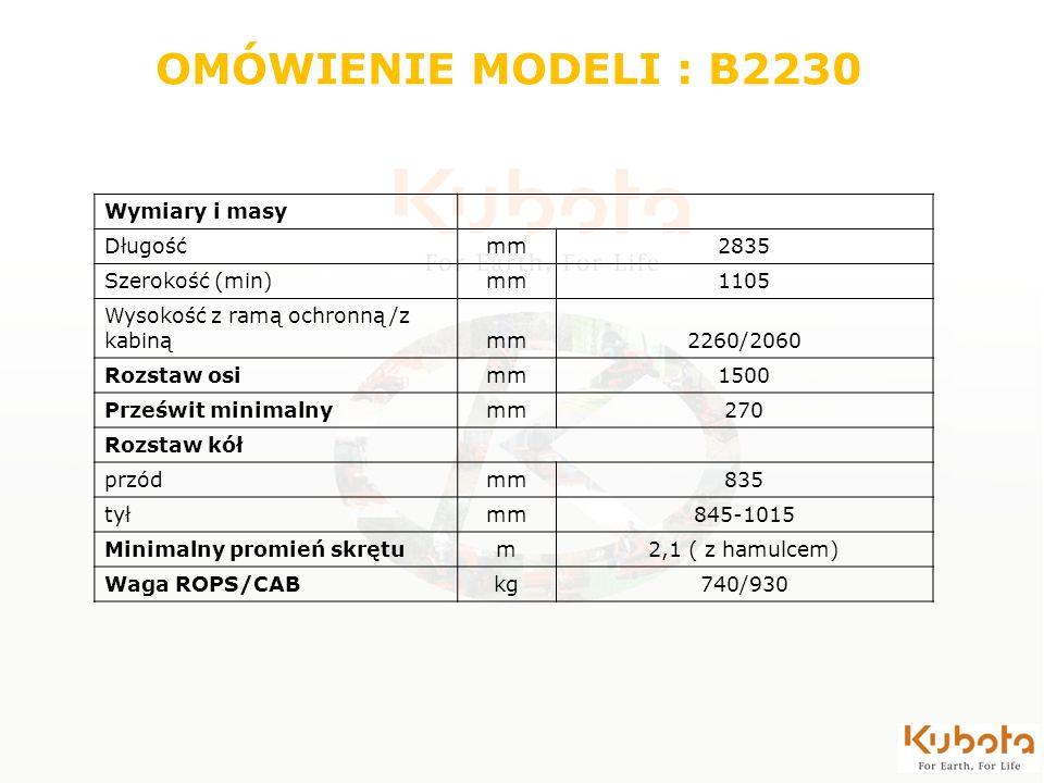 Wymiary i masy Długośćmm2835 Szerokość (min)mm1105 Wysokość z ramą ochronną /z kabinąmm2260/2060 Rozstaw osimm1500 Prześwit minimalnymm270 Rozstaw kół