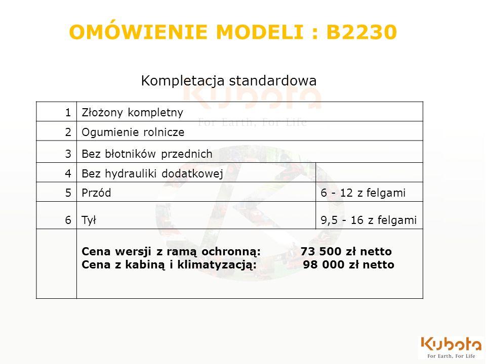 1Złożony kompletny 2Ogumienie rolnicze 3Bez błotników przednich 4Bez hydrauliki dodatkowej 5Przód6 - 12 z felgami 6Tył9,5 - 16 z felgami Cena wersji z