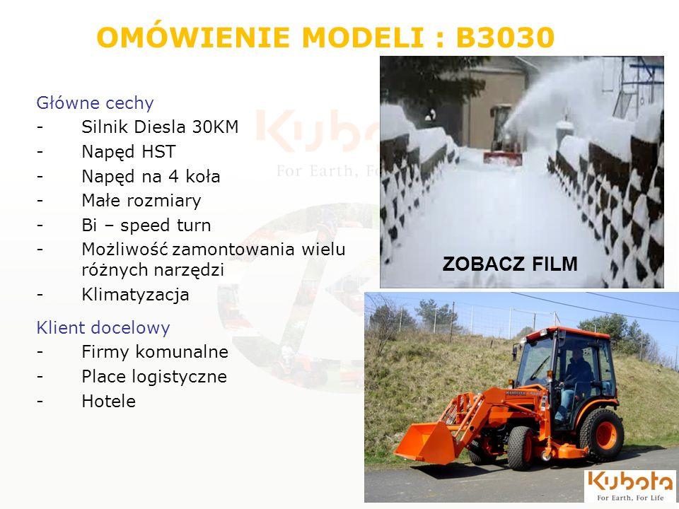 OMÓWIENIE MODELI : B3030 Główne cechy -Silnik Diesla 30KM -Napęd HST -Napęd na 4 koła -Małe rozmiary -Bi – speed turn -Możliwość zamontowania wielu ró