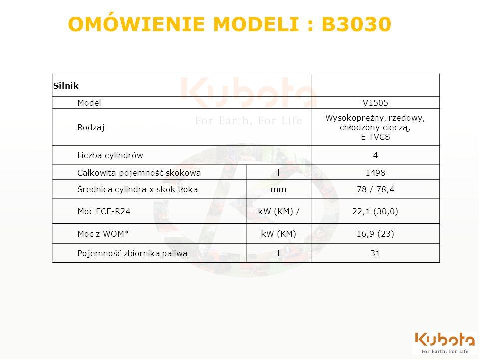 OMÓWIENIE MODELI : B3030 Silnik ModelV1505 Rodzaj Wysokoprężny, rzędowy, chłodzony cieczą, E-TVCS Liczba cylindrów4 Całkowita pojemność skokowal1498 Ś