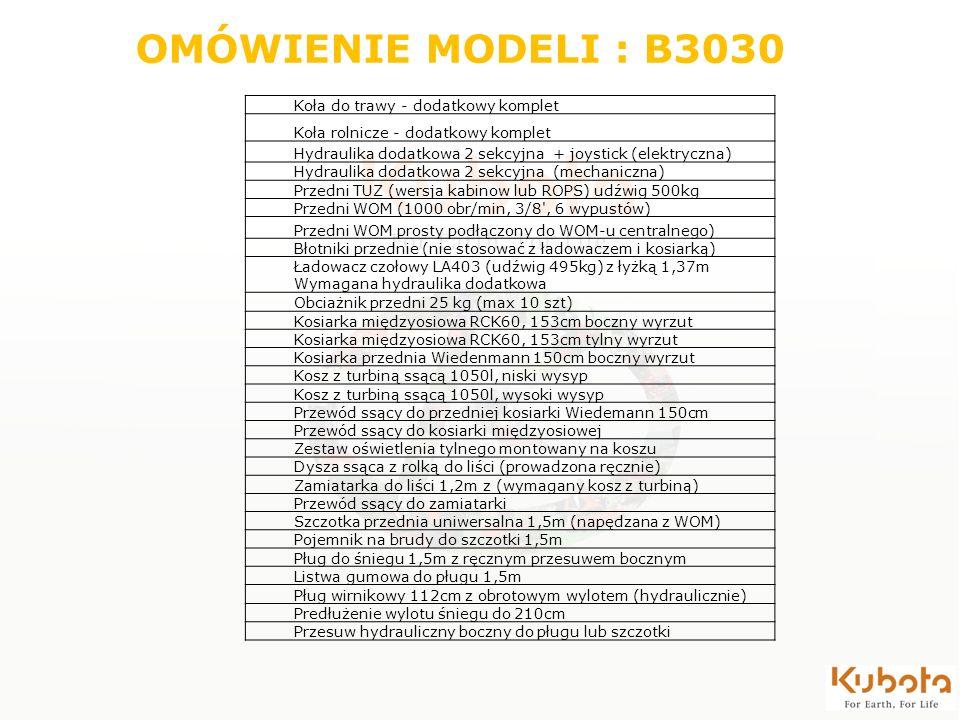 OMÓWIENIE MODELI : B3030 Koła do trawy - dodatkowy komplet Koła rolnicze - dodatkowy komplet Hydraulika dodatkowa 2 sekcyjna + joystick (elektryczna)
