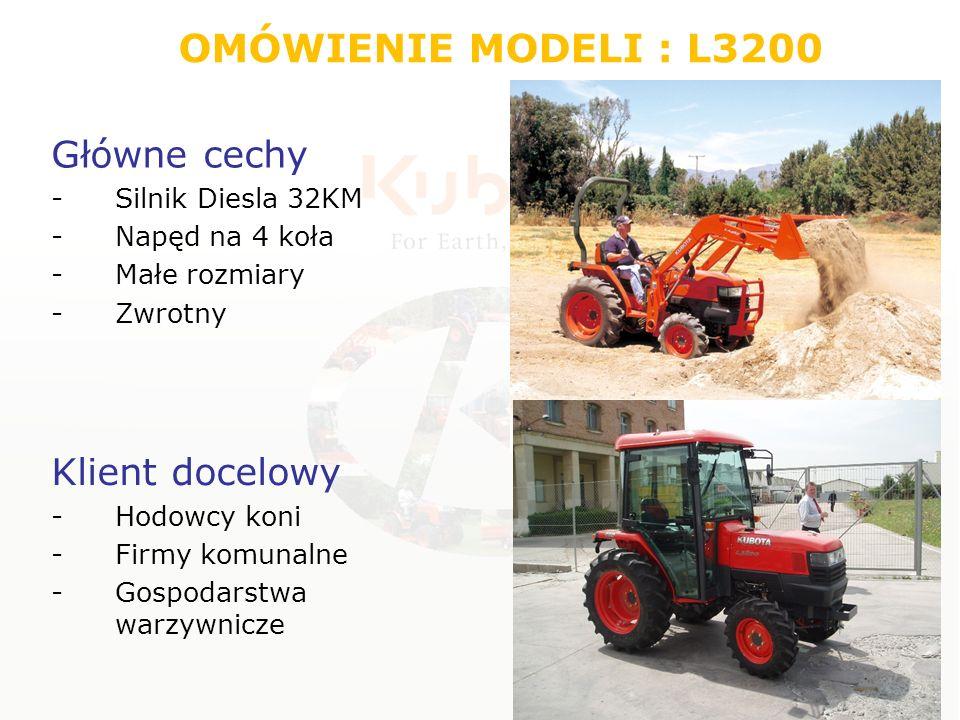 Silnik Typ Diesel E-TVCS Trzycylindrowy, chłodzony cieczą Moc silnikaKM(kW)33.4 (24,6) Średnica/skokmm87 x 92,4 Pojemność całkowitacm^31647 Moc na WOM-ieKM(kW)29 (21,3) WOM niezależny 540 obr/min Zbiornik paliwal34 Ekologiczny system potrójnego wiru strumienia mieszanki OMÓWIENIE MODELI : L3200 E – ecological T – three V – vortex C – combustion S - system