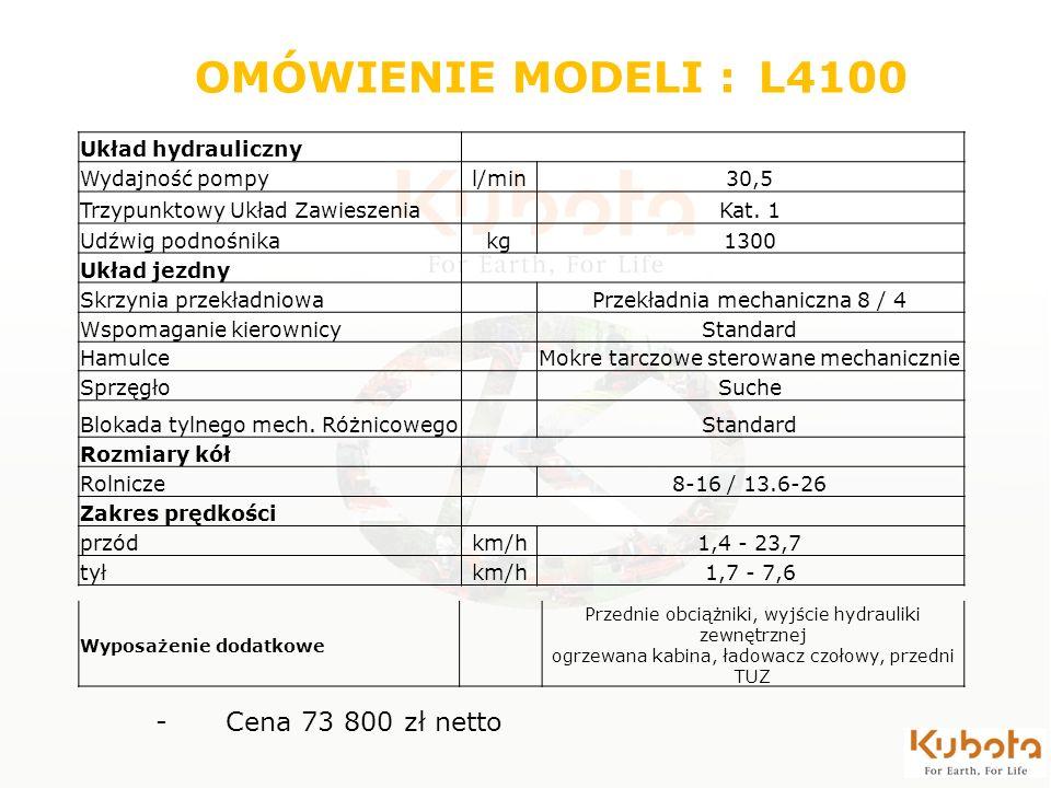 Układ hydrauliczny Wydajność pompyl/min30,5 Trzypunktowy Układ Zawieszenia Kat. 1 Udźwig podnośnikakg1300 Układ jezdny Skrzynia przekładniowa Przekład