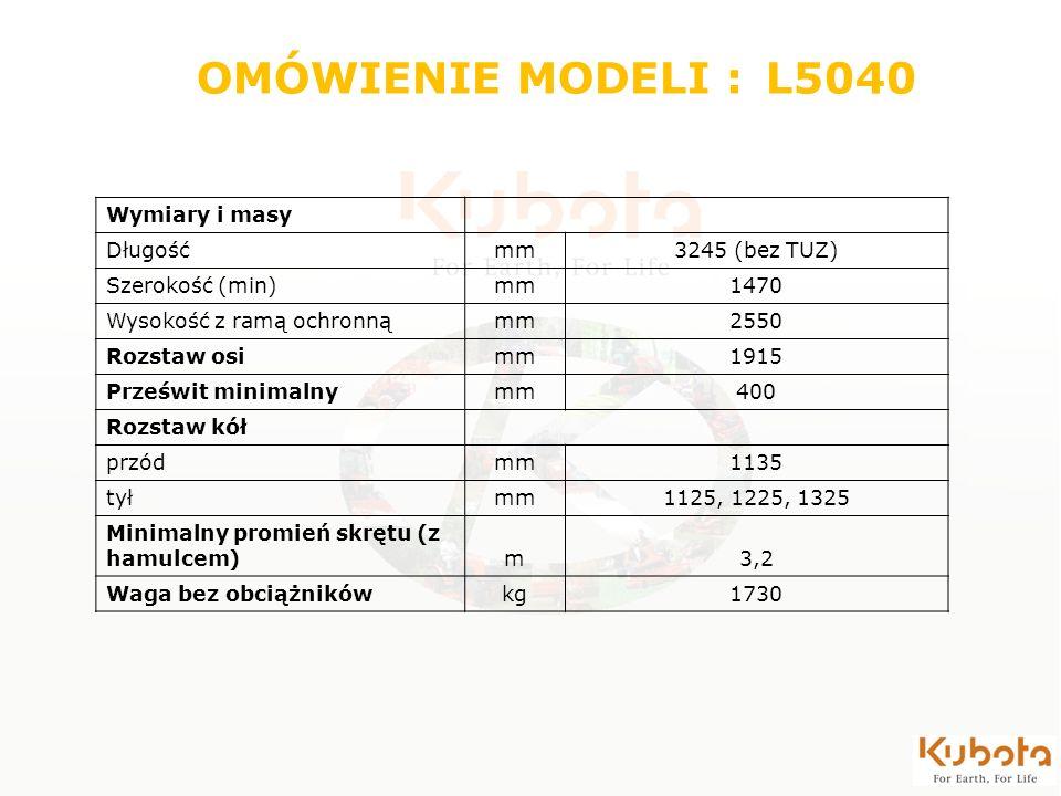 Wymiary i masy Długośćmm3245 (bez TUZ) Szerokość (min)mm1470 Wysokość z ramą ochronnąmm2550 Rozstaw osimm1915 Prześwit minimalnymm400 Rozstaw kół przó