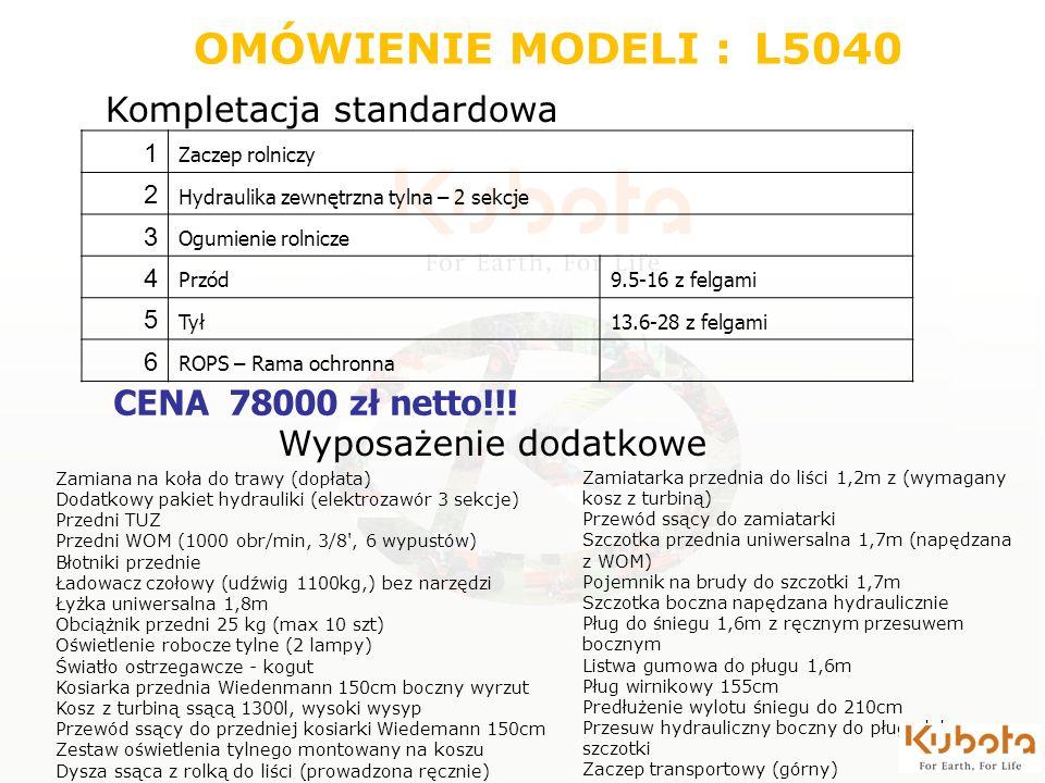 Wyposażenie dodatkowe 1 Zaczep rolniczy 2 Hydraulika zewnętrzna tylna – 2 sekcje 3 Ogumienie rolnicze 4 Przód9.5-16 z felgami 5 Tył13.6-28 z felgami 6