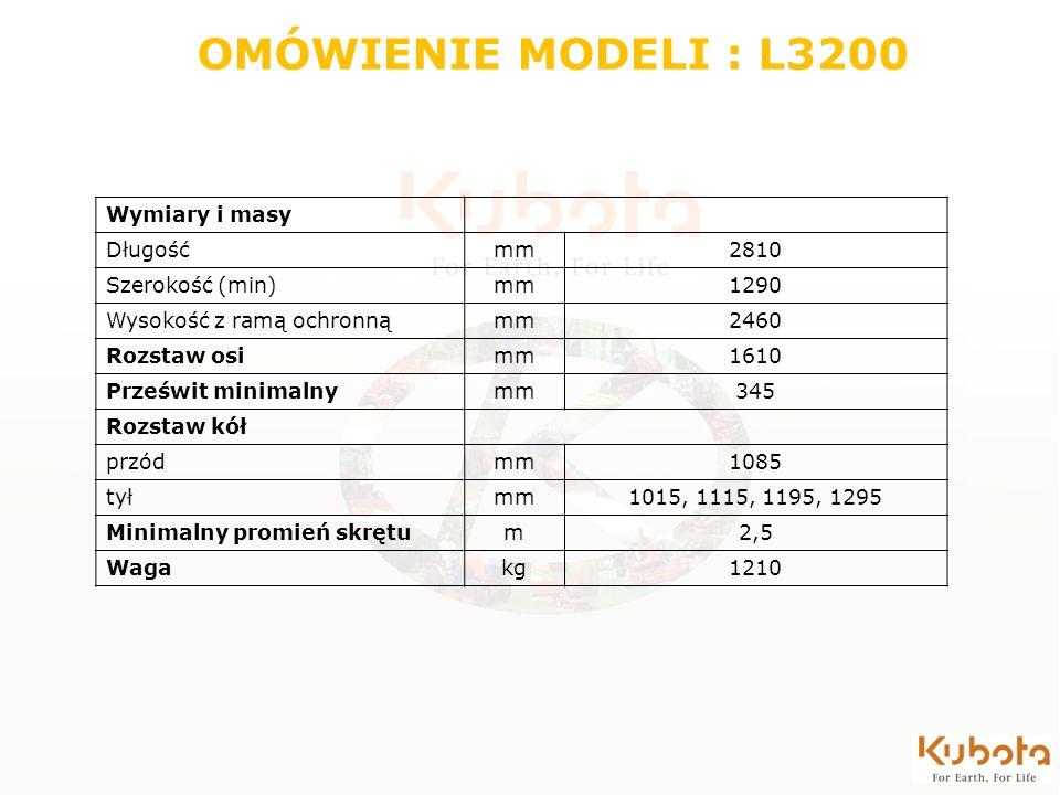 Wymiary i masy Długośćmm2810 Szerokość (min)mm1290 Wysokość z ramą ochronnąmm2460 Rozstaw osimm1610 Prześwit minimalnymm345 Rozstaw kół przódmm1085 ty