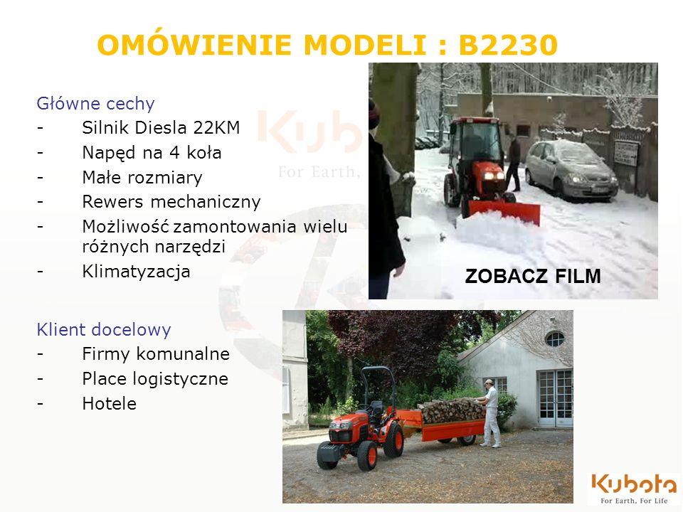 OMÓWIENIE MODELI : B2230 Główne cechy -Silnik Diesla 22KM -Napęd na 4 koła -Małe rozmiary -Rewers mechaniczny -Możliwość zamontowania wielu różnych na