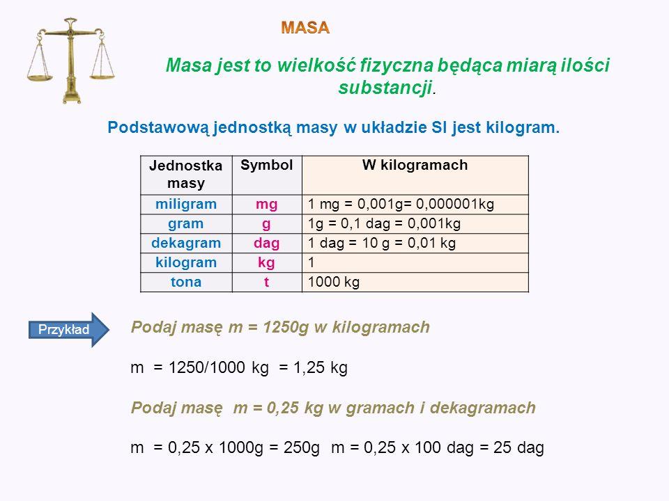 Masa jest to wielkość fizyczna będąca miarą ilości substancji. Jednostka masy SymbolW kilogramach miligrammg1 mg = 0,001g= 0,000001kg gramg1g = 0,1 da