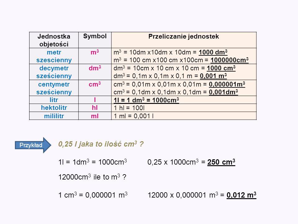Jednostka objetości SymbolPrzeliczanie jednostek metr szescienny m3m3 m 3 = 10dm x10dm x 10dm = 1000 dm 3 m 3 = 100 cm x100 cm x100cm = 1000000cm 3 de