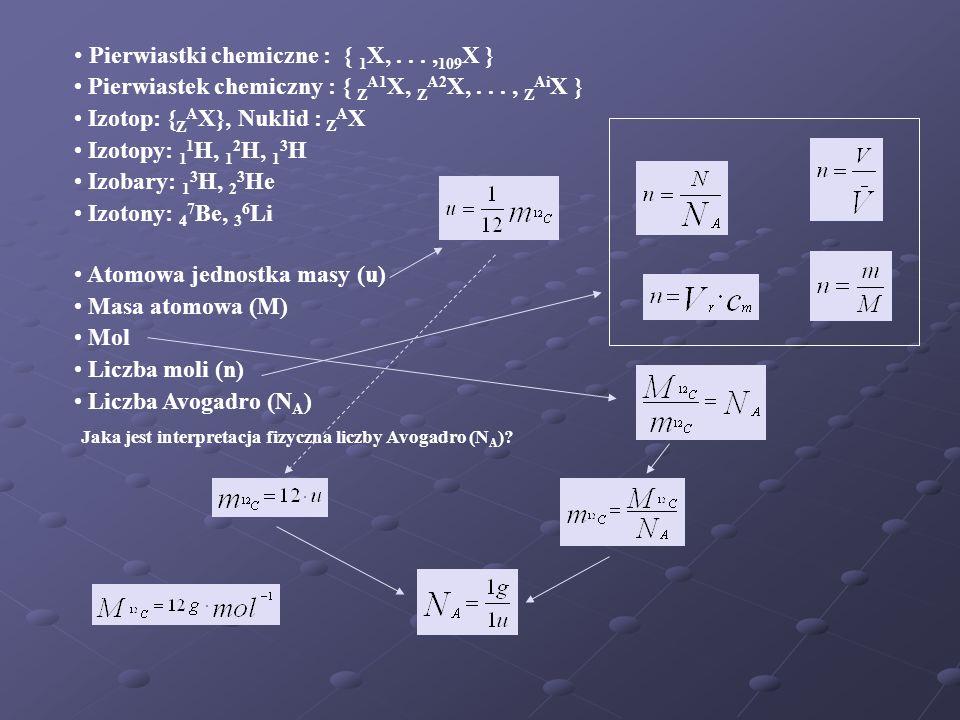 Pierwiastki chemiczne : { 1 X,..., 109 X } Pierwiastek chemiczny : { Z A1 X, Z A2 X,..., Z Ai X } Izotop: { Z A X}, Nuklid : Z A X Izotopy: 1 1 H, 1 2 H, 1 3 H Izobary: 1 3 H, 2 3 He Izotony: 4 7 Be, 3 6 Li Atomowa jednostka masy (u) Masa atomowa (M) Mol Liczba moli (n) Liczba Avogadro (N A ) Jaka jest interpretacja fizyczna liczby Avogadro (N A )?