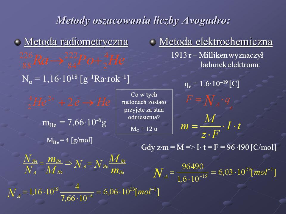 Metody oszacowania liczby Avogadro: Metoda radiometryczna Metoda elektrochemiczna N α = 1,16·10 18 [g –1 Ra·rok –1 ] m He = 7,66·10 -6 g M He = 4 [g/mol] 1913 r – Milliken wyznaczył ładunek elektronu: q e = 1,6·10 –19 [C] Gdy z · m = M => I· t = F = 96 490 [C/mol] Co w tych metodach zostało przyjęte za stan odniesienia.